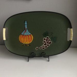 Vintage MCM Olive Green Oval Serving Tray